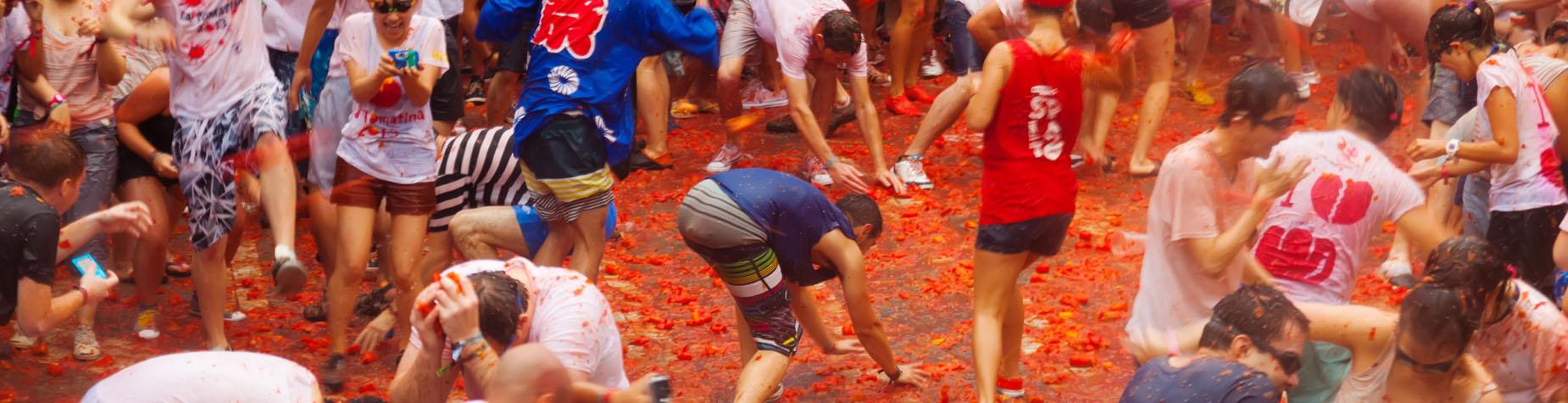 Gooi er op los tijdens het La Tomatina festival